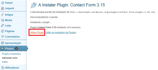Activar plugin wordpress
