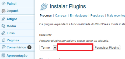 Procurar Plugins wordpress