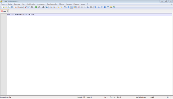 Interface do Notepad++